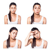Sad, offended, unhappy, disappointed girl composite Stock Photo