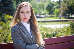 Sad office worker (woman) Royalty Free Stock Image