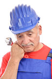 Sad old construction worker portrait Royalty Free Stock Photography