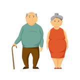 Sad old fat couple. Stand together. Unhappy elderly obesity man and women. Sad old couple vector illustration. Cartoon elderly man and woman. Unhappy overweight Royalty Free Stock Photos