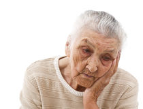 Sad old lady Stock Photography