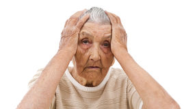 Sad old lady. Depressed old lady's portrait isolated on white Stock Images