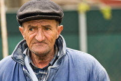 Sad old man. Retired man outdoors royalty free stock photos