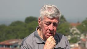 Sad Old Man Or Depressed Senior stock footage