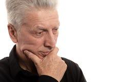 Sad old man. Isolated on white background Stock Photography
