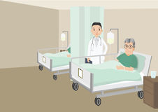 Sad old man lying in a hospital bed. Senior Male Patient Resting In Hospital Bed. Sad old man lying in a hospital bed. vector illustration Royalty Free Stock Photos