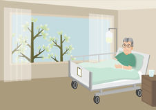 Sad old man lying in a hospital bed. Senior Male Patient Resting In Hospital Bed. Sad old man lying in a hospital bed. vector illustration Royalty Free Stock Image