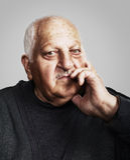 Sad old man. Portrait of a sad old man for portrait of a sad old man for 80 years royalty free stock image