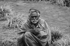 A sad old man working as gardner. Poor old senior man works cut grass with hand scissor in a lawn with hard manual labor work in India stock photography