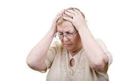 Sad old woman hands head problems Royalty Free Stock Photos