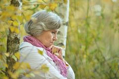 Sad old woman in park Stock Photos