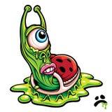 Sad one eyed green slug monster. Creature cartoon graphic. Vector illustration Stock Photos