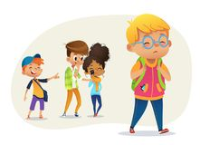 Sad overweight boy wearing glasses going through school. School boys and gill laughing and pointing at the obese boy. Body shaming, fat shaming. Bulling at vector illustration
