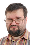 Sad overweight man with glasses royalty free stock photo