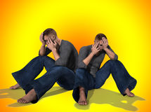 Sad Pair Of Men. A pair of men who are both sad Stock Photography