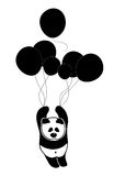Sad panda rises in the air (sky) by balloons in search of solitude and peace Stock Photo