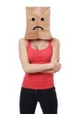 Sad paper bag woman Stock Image