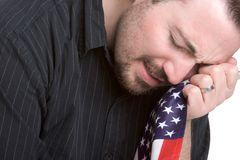 Sad Patriotic Man Royalty Free Stock Photos