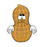 Sad peanut cartoon character Stock Image