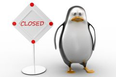 Sad Penguin with  closed sign board Stock Image