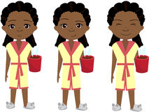 Sad, pensive and happy african girl, sleepy and cheerful Royalty Free Stock Photography