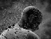 Sad, depressed, pensive person, negative thoughts with shattered man figure. Royalty Free Stock Photos