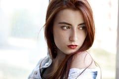 Sad serious girl royalty free stock photos