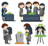 Sad people at the funeral. Illustration Royalty Free Stock Images