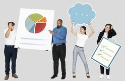 Sad people holding a pie chart and a checklist stock image