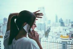 Sad phone call and couple problems concept Stock Photos