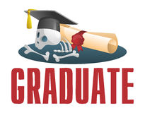 Sad picture about a graduate. Diploma scroll and skull in gradua. Te cap.  Cartoon styled  illustration. Elements is grouped and divided into layers for easy Royalty Free Stock Image