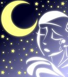 Sad pierrot in a starry night Stock Photography