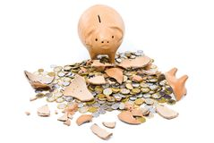 Sad Pig Coin Bank Stock Photo
