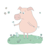 Sad pig with flowers, bird and butterflies. Cute pig painted by hand in cartoon style Royalty Free Stock Images