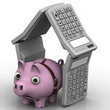 Sad pig-piggy bank in the house of electronic calculators Royalty Free Stock Photography