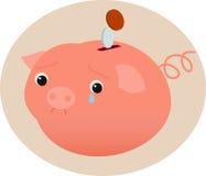 Sad piggy bank. A sad piggy bank and some coins Royalty Free Stock Photos