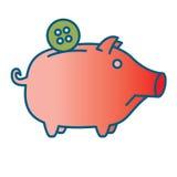 Sad Piggy bank or money box. Symbol. Thin line linear vector illustration Stock Image