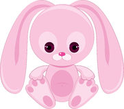 Sad pink bunny. Isolated on white Royalty Free Stock Photography