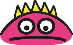 Sad pink monster head. Vector Royalty Free Stock Images