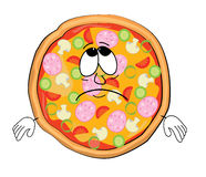 Sad Pizza cartoon Royalty Free Stock Images