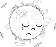 Sad Planet Earth coloring page stock illustration