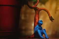 Sad plasticine man. Who is looking for something in this life but can not yet find Stock Photography