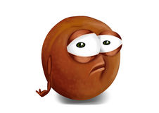 Sad pluot, a disappointed cartoon character Royalty Free Stock Photography