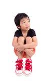 SAD pojke Deprimerad tonåring hemma Fotografering för Bildbyråer