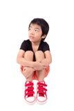 SAD pojke Deprimerad tonåring hemma Arkivbild
