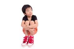 SAD pojke Deprimerad tonåring hemma Royaltyfria Bilder