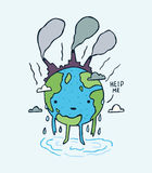 Sad polluted Earth. with help me message. Royalty Free Stock Image