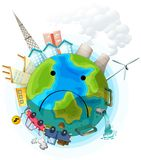 Sad polluted earth poster. Illustration stock illustration