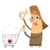 Sad poor woman without money with an empty cart holding only one Royalty Free Stock Photos