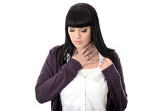 Sad Poorly Miserable Woman with Sore Throat Royalty Free Stock Photos